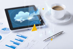 Tablet pc and cup of coffee Royalty Free Stock Images