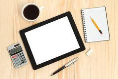 Tablet PC, cup of coffee with office supplies Royalty Free Stock Photo