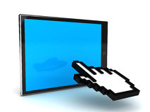 Tablet PC and cursor. 3D render Royalty Free Stock Image