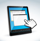 Tablet pc and cursor Stock Photos