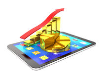 Tablet pc and diagram of golden bars and red arrow. Royalty Free Stock Photography