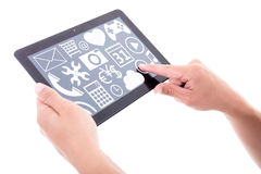 Tablet pc with different media applications in male hands isolat Stock Images