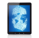 Tablet Pc and digital concept. Tablet Pc with fingerprint-digital world concept Royalty Free Stock Image