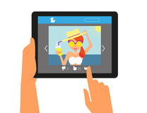 Tablet pc displaying the page in social networking Royalty Free Stock Images