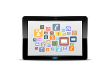 Tablet pc e botão da aplicação Imagens de Stock