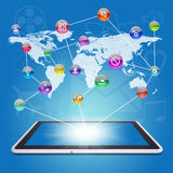 Tablet PC, earth map and application icons Stock Photography