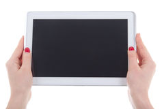 tablet pc with empty screen in female hands Stock Image