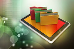 Tablet PC with file folder. In attractive background Stock Image