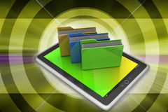 Tablet PC with file folder Royalty Free Stock Photos