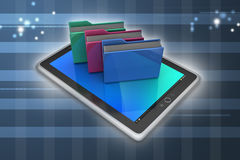 Tablet PC with file folder. In color background Stock Photography