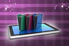 Tablet PC with file folder. In color background Stock Photo