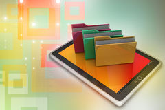 Tablet PC with file folder. In color background Stock Photos