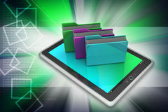 Tablet PC with file folder. In color background Royalty Free Stock Photos