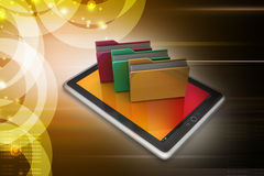 Tablet PC with file folder Royalty Free Stock Photography
