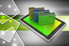 Tablet PC with file folder. In color background Royalty Free Stock Image