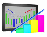 Tablet PC with financial graph. Diagram 3d on white background Royalty Free Stock Photo