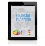 Tablet pc financial planning. Business and finances concept: render of a tablet pc with financial planning on the screen. Screen graphics are made up Stock Images