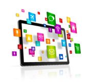 Tablet PC and flying apps icons Royalty Free Stock Images