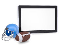Tablet PC, football helmet and ball Royalty Free Stock Image