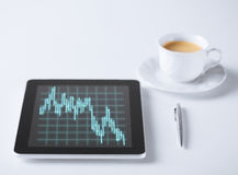 Tablet pc with forex chart on it and cup of coffee Royalty Free Stock Images