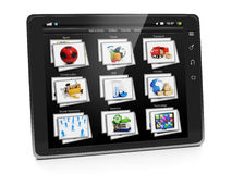 Tablet PC with a gallery of images Stock Image