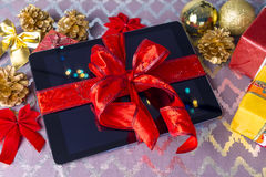 Tablet pc gift for Christmas Stock Photo