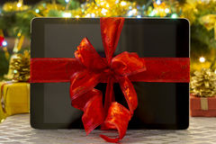 Tablet pc gift for Christmas Stock Images