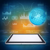 Tablet PC, globe and graphics Royalty Free Stock Images