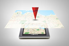 Tablet pc with gps navigator map on screen Royalty Free Stock Images