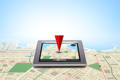 Tablet pc with gps navigator map on screen Stock Image