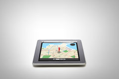 Tablet pc with gps navigator map on screen Royalty Free Stock Photos
