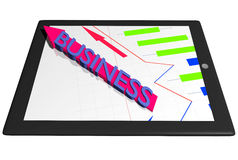 Tablet PC with graph diagram and Business arrow indicator Stock Photography