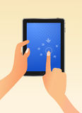 Tablet PC with Hand. Hand click on Tablet PC illustration vector illustration