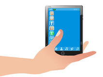 Tablet pc on hand. Stock Photos