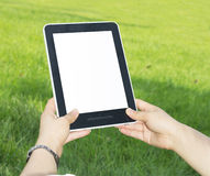 Tablet PC hand Royalty Free Stock Image