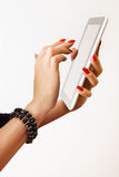 Tablet PC in hands Stock Photo