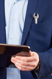 Tablet PC on hands Royalty Free Stock Image