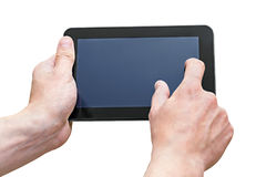 Tablet PC in the hands of men Stock Photos