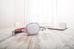 Tablet PC and headphones Stock Photo