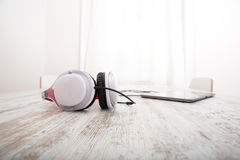 Tablet PC and headphones Royalty Free Stock Photo