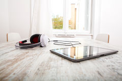 Tablet PC and headphones Royalty Free Stock Photos