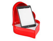 Tablet PC in a Heart valentine box. On a white background Stock Photography