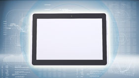 Tablet PC on high-tech blue background Stock Photo