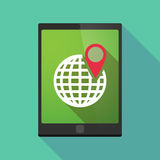 Tablet pc icon with a world globe Stock Photo