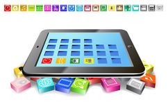 Tablet PC and icons. Stock Photography