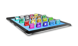 Tablet pc and icons. Royalty Free Stock Image