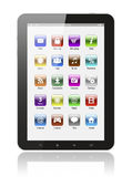 Tablet pc with icons Royalty Free Stock Photos
