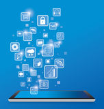 Tablet pc and icons business Stock Photography