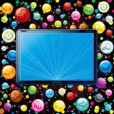 Tablet PC Icons Cloud. Vector Concept. Tablet PC with Media Icons Cloud Stock Images
