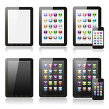 Tablet pc with icons set Stock Photography